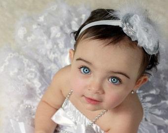 Baptism Baby Headband Christening Flower Girl Fascinator in Silver and White Photo Prop Birthday Girl