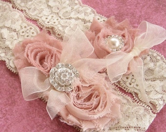 Vintage Bridal Garter Wedding Garter Set Toss Garter included Dusty Rose Ivory with Rhinestones and Pearls  Custom Wedding colors
