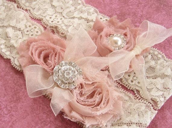 Vintage Wedding Garter Dusty Rose Bridal Garter Set Lace