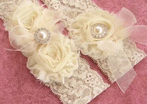 Wedding Garter Set Toss Garter included  Ivory with Rhinestones and Pearls  Custom Wedding colors