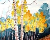 "Beautiful Autumn Aspen trees. Aspen Eyes. A functional  GLASS TRIVET - 11"" x 8"".  Free U.S. shipping."