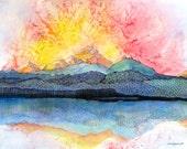 "Sunrise over Colorado mountains - landscape. Pagosa Peak 2. A decorative  CERAMIC TILE wall art  - 8"" x 10"".  Free U.S. shipping."