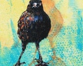 "Look Ma, No Hands.  A bold dare-devil balancing blackbird with an intense stare.  Decorative CERAMIC TILE  - 8"" x 8"".  Free U.S. shipping."
