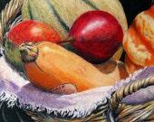 "Fruit basket, functional GLASS TRIVET decorative, vibrantly colored kitchen art ""Market Basket 2""-  8""x 11"".  Free U.S. shipping."