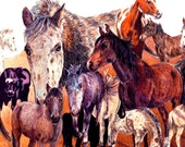 """Horses in browns, a functional  GLASS TRIVET -  8""""x 11"""".  Free U.S. shipping."""