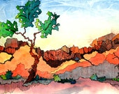 """Abstract Utah landscape. Lone Tree 1. A functional  GLASS TRIVET - 8"""" x 11"""" .  Free U.S. shipping."""