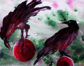 "Four ravens and orbs. Edgar Allan Poe inspired painting -  GICLEE print - ""The Raven Still Bequiling"". Free U.S. shipping."