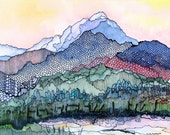 Colorado mountains from my studio - Pagosa Peak 1 - a fine art GICLEE print of one of my paintings. Free U.S. shipping.
