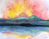 Sunset on the San Juan Mountains of SW Colorado. Pagosa Peak 2   - a fine art GICLEE print of one of my paintings. Free U.S. shipping.
