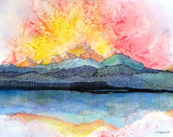 Beautiful imaginary mountain sunset reflected in lake scene.  Functional GLASS TRIVET. Pagosa Peak 2.Free U.S. shipping.