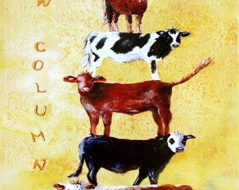 "Cow Column.  A decorative, whimsical CERAMIC TILE wall  art  - 10"" x 8"".  Free U.S. shipping."