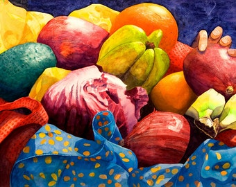 "Wall art. Market Basket 4 - Hand.  Fruit and vegetable still life - vivid, lively colors. CERAMIC TILE   - 8"" x 10"".  Free U.S. shipping."
