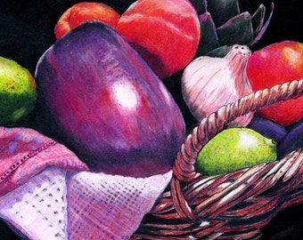 "Vegetable and fruit still life. Market Basket 10 - Eggplant. A decorative CERAMIC TILE wall art  - 8"" x 10"".  Free U.S. shipping."