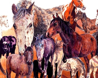 """Creative horse grouping in browns. Decorative CERAMIC TILE wall art. Horse of a Different Color.  8"""" x 10"""".  Free U.S. shipping."""