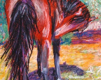 """Brown horse painting. Huff's Horse. A decorative CERAMIC TILE wall art  -  10"""" x 8"""".  Free U.S. shipping."""