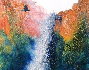 "Waterfall, semi-abstract and stylized. Treasure Falls 2.  A decorative CERAMIC TILE wall  art  -  8"" x 8"".  Free U.S. shipping."