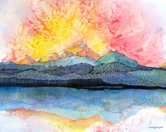 "Abstract Colorado mountain and lake at sunset. Pagosa Peak 2.  A decorative CERAMIC TILE wall  art  -  8"" x 10"".  Free U.S. shipping."