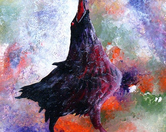 The sleek raven eloquently speaks. Quoth the Raven is a fine art GICLEE.   Free U.S. shipping.