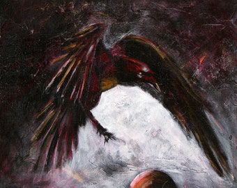 "Raven and glowing orb. A fine art GICLEE reproduction of one of my acrylic paintings. ""A Stately Raven"". Free U.S. shipping."