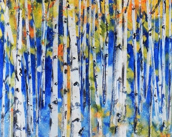 "A grove of Aspen trees in the Autumn. ""Aspen Grove 2"".  A decorative CERAMIC TILE wall  art  -  10"" x 8"".  Free U.S. shipping."