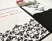 Black and Red Wedding Invitation Pocketfold Suite - Sample