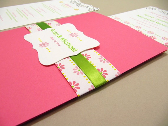 Pocketfold Wedding Invitation, Modern Flower In Green - Sample