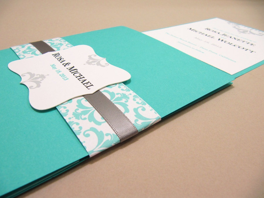 aqua blue wedding invitation. turquoise and silver wedding,