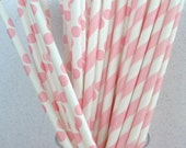 30 Pink Stripe & Pink Polka Dot Paper Straws....Weddings.....Cake Pop Sticks...Paper Drinking Straws.... Retro, Vintage
