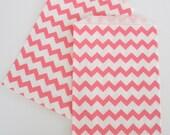 Chevron Stripe Bags, 20 Ct...PINK Stripe Chevron Design Paper Bags...Wedding Favor Bags, Treat Bags, Packaging, Food Bags