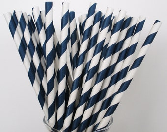 NAVY BLUE & White Stripe Paper Straws / Paper Drinking Straws / Cake Pop Sticks/ True Dark Navy Blue