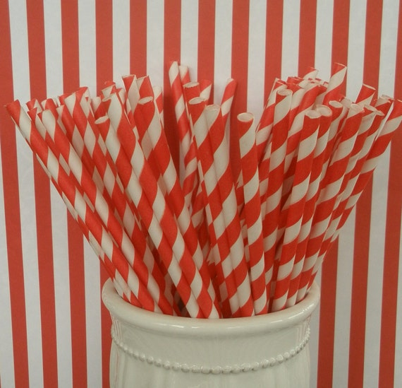 30 Red Stripe Paper Straws.... w/ DIY Printable Tags, Retro, Vintage Inspired, Bio degradable, eco friendly