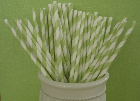 "30 Green Stripe Paper Straws w/ ""Free"" Blank Printable Pennants..we also offer personalized pennants"