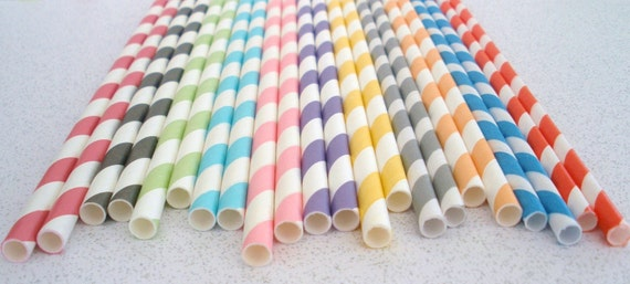 """300 Paper Straws...PICK Your Color(s) w/""""FREE"""" Blank Printable Pennants,..We also offer Personalized Pennants"""