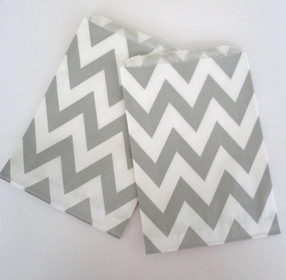 Chevron Paper Bags, 24 Ct...GREY Stripe Chevron Design Paper Bags...Wedding Favor Bags, Treat Bags, Packaging, Food Bags...5x7