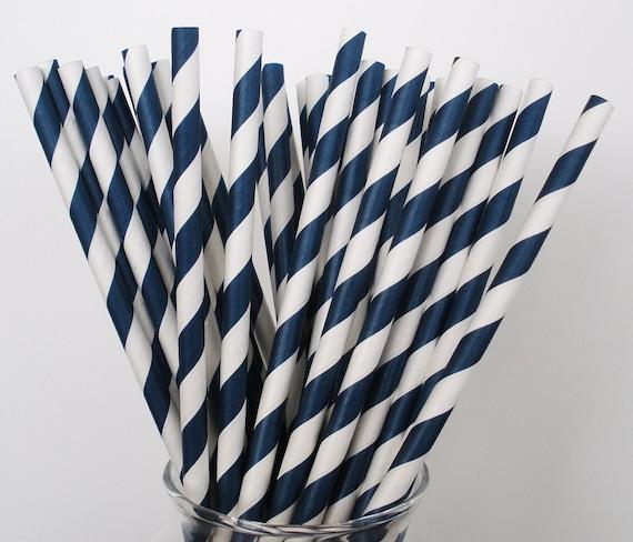 NAVY BLUE & White Stripe Paper Straws / Paper Drinking Straws / Cake Pop Sticks/ True Dark Navy