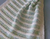 Baby Blanket - Green/Blue Panels with White Border - Immediate Shipping