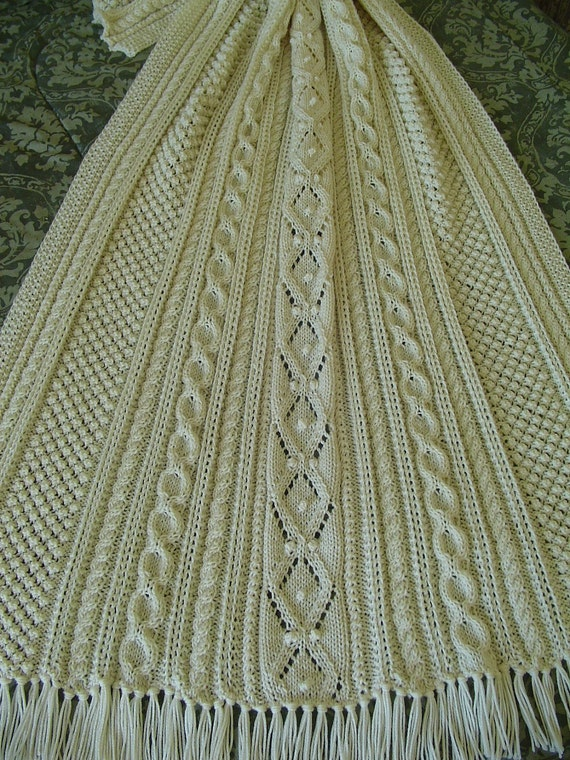 Aran Knit Afghan Handknit afghan Reduced Afghan Gift for