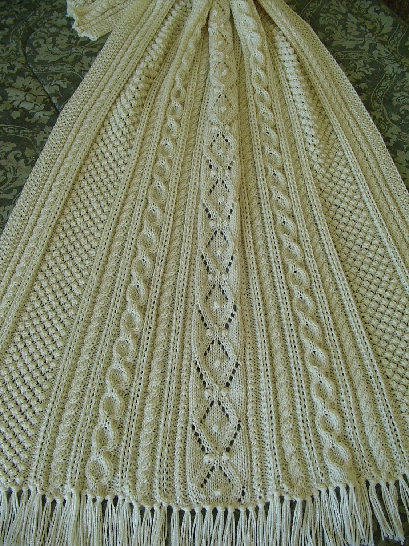 Aran Afghan Knitting Patterns : Aran Knit Afghan Handknit afghan Reduced Afghan Gift for
