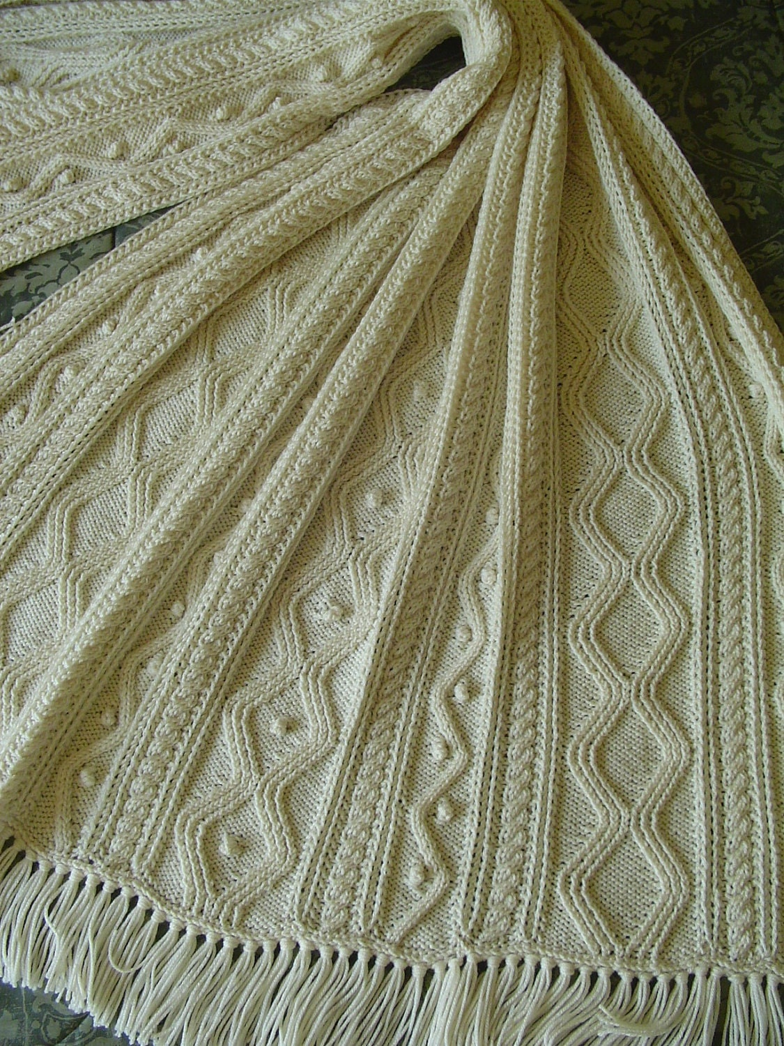 Diamond Afghan Knitting Pattern : Afghan Aran Hand Knit Diamonds Cables and Bobbles