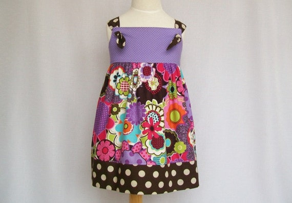Girls Knot Dress - Modern Funky Flowers