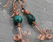 Hammered Copper & Turquoise Swirl Earrings