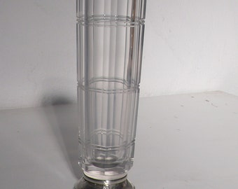 Art deco glass vase with  sterling silver stand