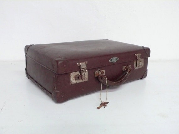 vintage french suitcase with key