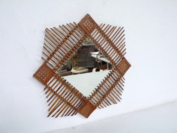 Mid Century wicker  square starbust wall mirror