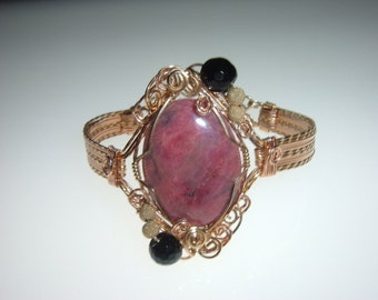 Wire Wrapped Raspberry Rhodonite Rose and Yellow Gold Bracelet