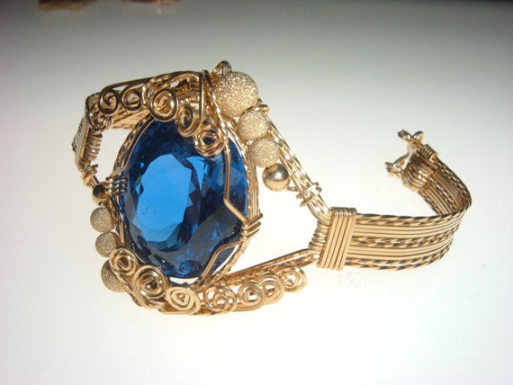Wire Wrapped Blue Spinel (47ct) Gold Bracelet