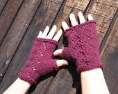 Plum Wool Fingerless Gloves with lace detail