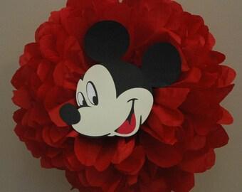 Mickey Mouse birthday decoration, Disney cruise door decoration - tissue pom pom  - Disney Birthday party, Disney Shower decoration