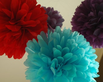 Wedding, birthday, party decorations, DIY Tissue poms + FREE matching confetti - Tissue paper pom poms - Pick your colors