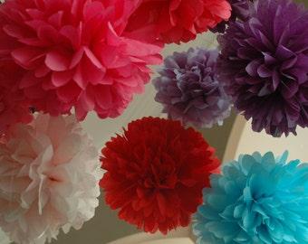 Baby Shower Decorations, Gender Reveal, Bachelorette party, bridal shower, paper pom poms -  18 pieces -  party pom pkg - Pick your colors -